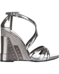 Prada Wedge-Heel Strappy Sandals black - Lyst