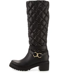 Moncler Marie Quilted Leather Boot - Lyst