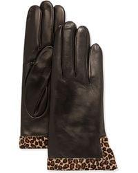 Portolano Leather Calf Hair Glove black - Lyst