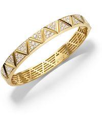 Marina B - 18k Yellow Gold Triangoli Diamond Bangle Bracelet - Lyst