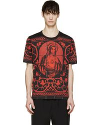 Dolce & Gabbana Black And Red Mary Print T_Shirt - Lyst