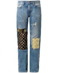 Aries Patchwork Boyfriend Jeans - Blue