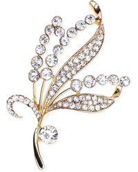 Jones New York - Gold-tone Crystal Leaf Pin - Lyst