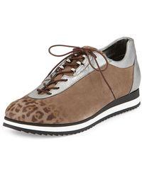 Stuart Weitzman Relay Leopard-print Sneaker - Lyst