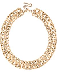 River Island Gold Tone Double Curb Chain Necklace - Lyst