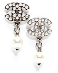 Chanel Pre-owned Silver Seed Pearl Cc Drop Earrings - Lyst