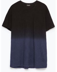 Zara Deep Dye T-Shirt blue - Lyst