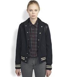 Saint Laurent Leather-Trimmed Wool Bomber Jacket - Lyst