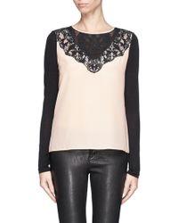 Diane Von Furstenberg Floral Lace Silk Top - Lyst