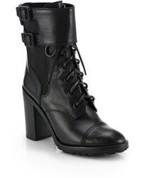 Tory Burch Broome Leather Mid-Calf Boots - Black