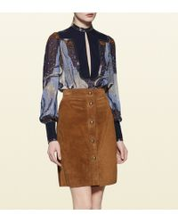 Gucci Fantasy Print Embroidered Silk Shirt blue - Lyst