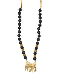 Wendy Mink - Black Bead And Gold Necklace - Lyst