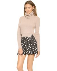 Band of Outsiders - Croppped Turtleneck with Tilted Seams Pink - Lyst