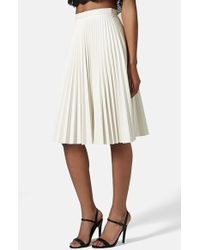 Topshop Women'S Pleated Faux Leather Skirt - Lyst