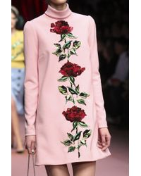 Dolce & Gabbana Double Crepe Rose Sequin Embroidered High Neck Dress - Lyst