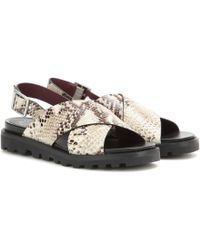 Marc By Marc Jacobs Gramercy Embossed Leather Sandals animal - Lyst