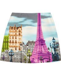 Tibi Eiffel Towerprint Stretchcotton Mini Skirt - Lyst