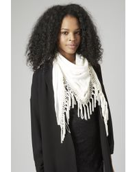 Topshop Embroidered Tassel Scarf - Lyst