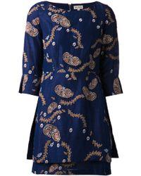 Suno Embroidered Dupioni Dress - Lyst
