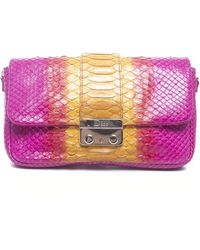 Dior Pre-owned Pink and Yellow Python Promenade Pouch - Lyst