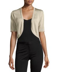 Lafayette 148 New York Half-Sleeve Cropped Cardigan gold - Lyst
