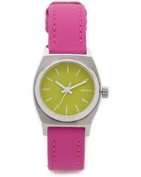 Nixon Small Time Teller Leather Watch - Neon Yellow/Hot Pink silver - Lyst