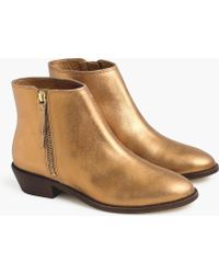 J.Crew Frankie Ankle Boots In Dark Gold - Metallic