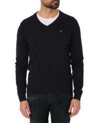 Diesel Benti Navy Blue V-Neck Jumper - Lyst