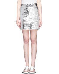 McQ by Alexander McQueen Foil Lamb Leather Zip Skirt - Lyst
