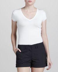 Zac Posen Cuffed Cotton Shorts black - Lyst