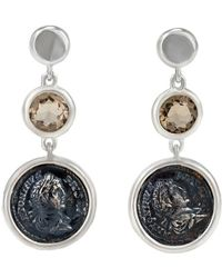 1884 Collection - 1884 - 'legacy Vivace' Sterling Silver Earrings W/ 1 Medium Pius Coin And Smoky Topaz Stone, 3.00 Cts - Lyst