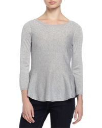 Philosophy Cashmere - 3/4-sleeve Metallic Knit Peplum Sweater - Lyst