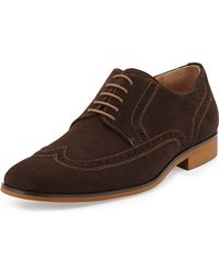 Hugo Boss Matano Suede Wing-Tip Lace-Up Shoes - Lyst