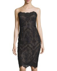 Marchesa | Beaded Lace Strapless Dress W/ Lace-up Back | Lyst