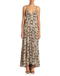 L'Agence Grace Butterfly-Print Silk Maxi Dress brown - Lyst