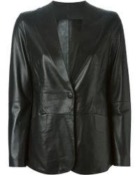 Giorgio Armani Leather Blazer - Black