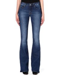 Victoria Beckham Flared Midrise Jeans Washed Cobalt - Lyst