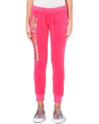 Juicy Couture Logo-Print Velour Jogging Bottoms - For Women - Lyst