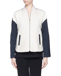 Vince Contrast Sleeve Cotton Bomber Jacket white - Lyst