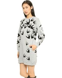 McQ by Alexander McQueen Flock Sweatshirt Dress Grey Melange Black - Lyst