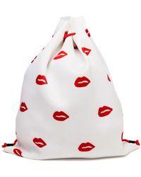 American Retro Lip Print Drawstring Backpack - Lyst