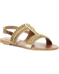 Steve Madden Gildedd Embellished Tbar Sandals Gold Plain Synthetic - Lyst