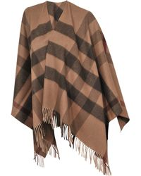 Burberry Collar Check Cape - Lyst
