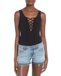 Soprano Lace-up Sleeveless Bodysuit - Black