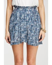 Love 21 Abstract Print Pleated Skirt - Lyst