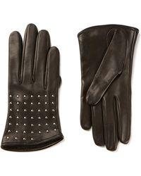 Alexander McQueen Black Lambskin Gloves Embellished with Silver Metal Studs - Lyst
