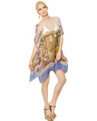 Dolce & Gabbana Transparent Silk Chiffon Kaftan Dress - White