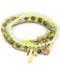 Chan Luu Beaded Bracelet Set Neon Yellow Mix