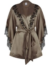 Carine Gilson Classic Short Silk Kimono - Lyst