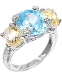 Judith Ripka Canary & Sky Blue Crystal White Sapphire Three-Stone Sterling Silver Ring silver - Lyst